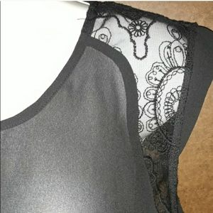 NWT MOSSIMO BLACK SHEER LACE TOP